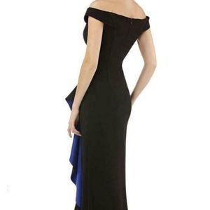 Carmen Marc Valvo Dresses - CARMEN MARC VALVO INFUSION Black RUFFLE SLIT GOWN